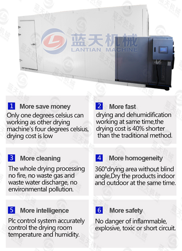 Features of sea food dryer machine